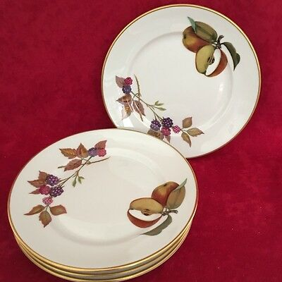 QUANTITY OF 4 ROYAL WORCESTER EVESHAM BREAD and BUTTER DISHES  #19559