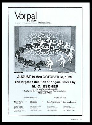 1979 M.C. Escher Encounter art SFC Vorpal gallery vintage print ad