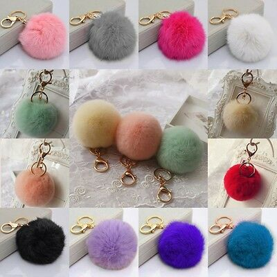 Cell Phone Car Keychain Pendant Handbag Key Ring Rabbit Fur Ball PomPom NEW