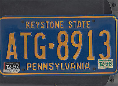 "PENNSYLVANIA passenger 1997 license plate ""ATG 8913"""