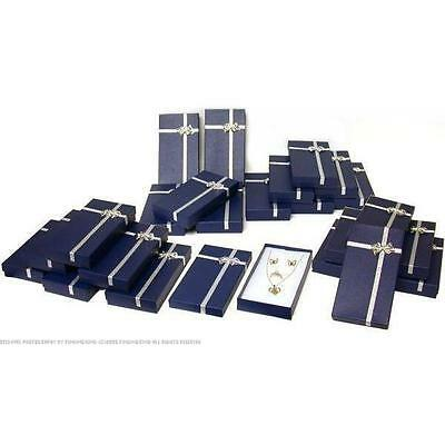 24 Blue Bow Tie Necklace Ring & Earring Gift Boxes