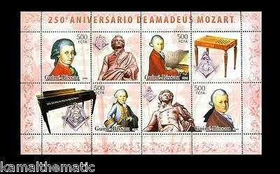 Guine Bissau MNH 4v + Labels in SS, 250th Anniversary Amadeus Mozart , Music, Co