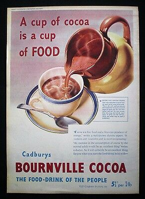 CADBURYS BOURNVILLE COCOA DRINK 1pp MAGAZINE ADVERT 1937