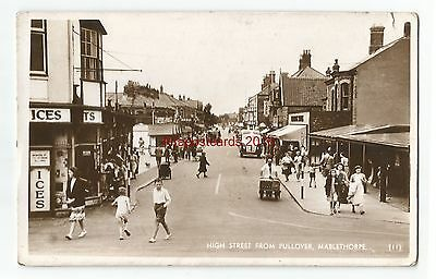 Lincs Mablethorpe High Street from Pullover Real Photo Vintage Postcard 19.11