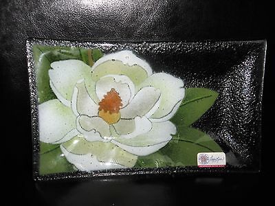 Peggy Karr American contemporary studio art glass tray dish plate Magnolia signe