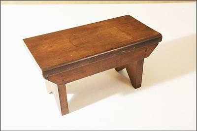 Vintage WOOD FOOT STOOL shabby country mid century folk art french milk solid 22