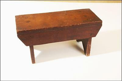 Vintage WOOD FOOT STOOL shabby country mid century folk art french milk solid 23