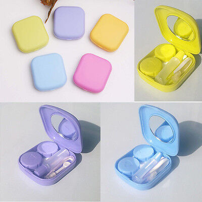 Plastic Contact Lens Case Travel Kit Mirror Pocket Storage Holder Container
