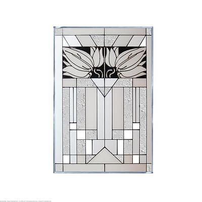 Mission Style White Painted Glass Panel W-271