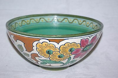 "Vintage Gouda Royal Zuid Holland Vitor Handpainted Art Deco Pottery 7.75"" Bowl"