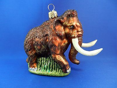 Woolly Mammoth Prehistoric Blown Glass Christmas Tree Ornament Animal 011192