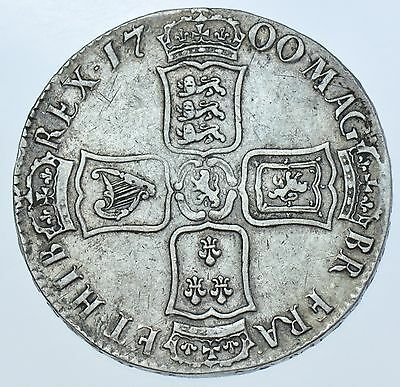 1700 Dovodecimo Crown, British Silver Coin From William Iii Vf