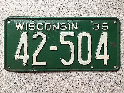 GENUINE American 1935 Wisconsin USA License Licence Number Plate 42-504