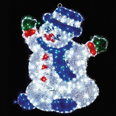 98 x 75CM OUTDOOR MAINS POWERED CHRISTMAS XMAS SNOWMAN ROPE LED LIGHT SILHOUETTE