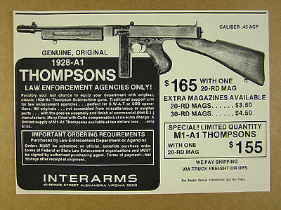 1976 Thompson 1928-A1 Submachine Gun photo Interarms vintage print Ad