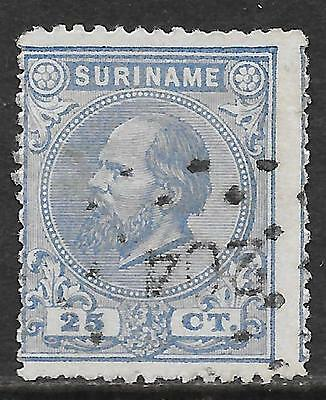 Surinam stamps 1873 NVPH 10aA  P.14 big holes  SHIFTED  CANC  VF
