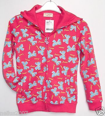 BNWT Giordano Pink & Blue Girls Hoodie Zipped Hooded Jacket Cardigan Age 8-10