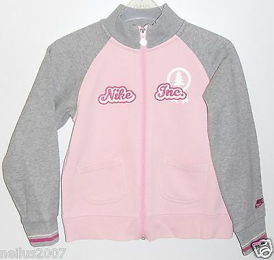 Girls Grey & Pink Nike Logo Zipped Jacket Cardigan with Pockets Age 7-8