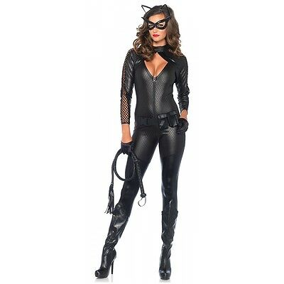 Cat Woman Costume Adult Superhero Catsuit Halloween Fancy Dress