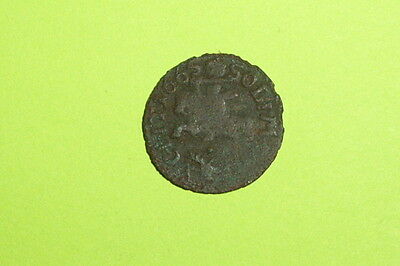Authentic MEDIEVAL COIN horse rider JOHANN KASIMIR 1648 sword money old antique