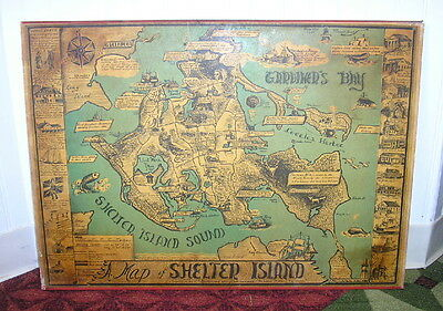 Vintage 1966 Edith Shepherd A Pictorial Map of Shelter Island Long Island