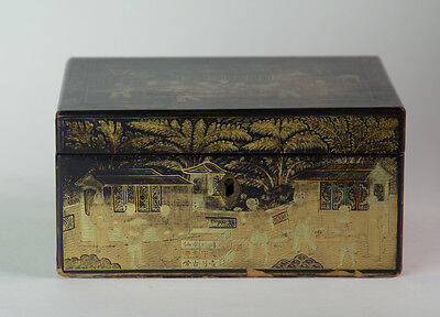Antique 1820s Chinese Export Gilt Black Lacquer Box Tea Caddy w Pewter Canister