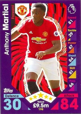 2016/2017 Topps Match Attax card 198 Anthony Martial - Manchester United