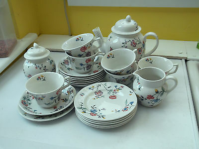 Laura  Ashley Cups And Saucers Plates Teapot, Milk Jug & Sugar  In Chinese Silk
