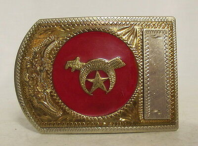 Vintage Shriner Belt Buckle Jewel of the Order Star Sword Red Gold Collectible