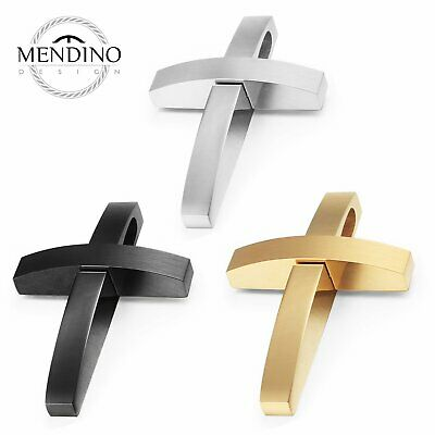 MENDINO Men's 316L Stainless Steel Pendant Necklace Classic Arc Cross Polished