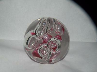 Vintage Art Glass Paperweight With Bubbles Unmarked Unmarked