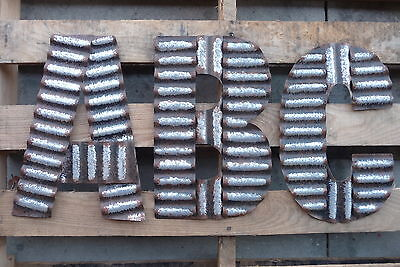 Lg Corrugated Metal C D G J K L N O S T V W Industrial Wall Sign Alphabet LETTER
