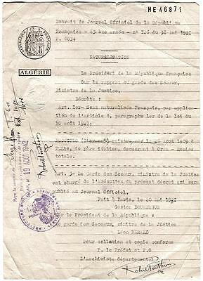 Orig WWII 1942 French Algeria Naturalization Document Official Seals & Signature