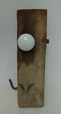 Antique Primitive White Porcelain Door Knob Set w/ Latch + Hook on Door Board