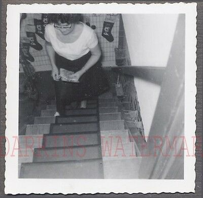 Unusual Vintage Photo Candid View of Woman Walking Up Stairs 720950