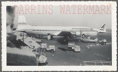 Vintage Photo United Airlines Douglas DC 6 Airplane at Airport 720897