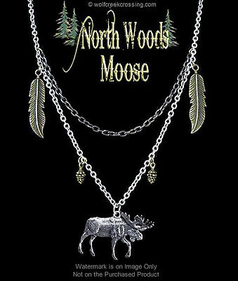 North Woods Moose Necklace  Wild Nature Antique Bronze & Silver Mix - Free Ship*