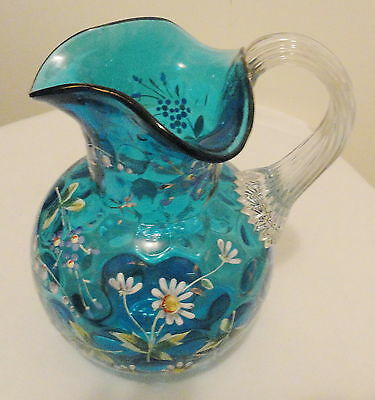 Antique Moser  Dark Turquoise Pitcher With Enamel Flowers Applied Handle