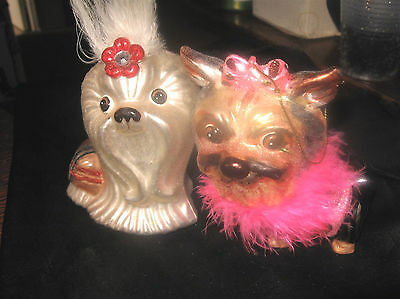 2 Terrier Yorkshire Yorkie or Shih Tzu Glass Christmas Ornaments