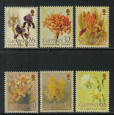 Guernsey 2005 Flower Paintings--Attractive Art Topical (860-65) MNH