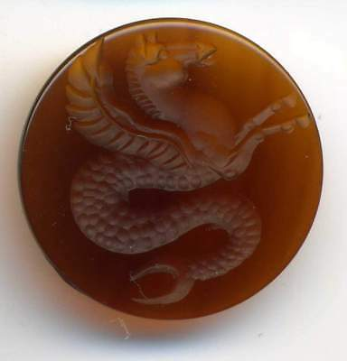 Roman Style Blood Brown Agate Signet Intaglio Seal