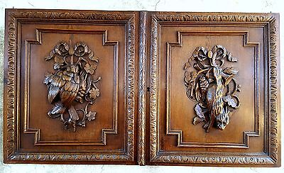 26 in 2 HUNTING WITH HOUNDS CABINET DOOR ANTIQUE FRENCH CARVED WOOD PANEL 19 th