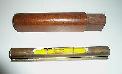 Early Engineers Brass Small Level In Original Cedar Box Missing End Cap