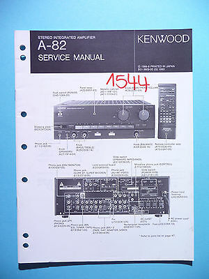 Service Manual Instructions For Kenwood A-82 ,ORIGINAL
