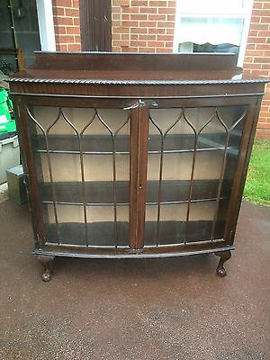 Antique Large Wooden Display Cabinet Vintage Dark Wood Claw And Ball Feet