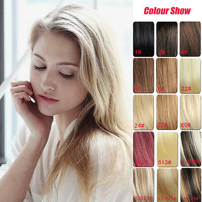 "Premium 16"" 100% Remy Human Hair Extensions Clips-in 7Pcs Full Head 16 Colors"