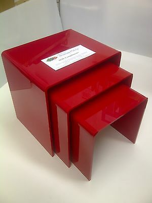 Red Perspex Acrylic Nest Of 3 Tables 8Mm Gloss Perspex Lounge Side Tables