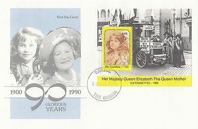 (94788) Gambia FDC Queen Mother 90th Birthday minisheet Banjul 19 July 1990