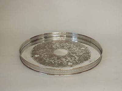 """VINTAGE SILVER PLATE Round Circular GALLERY TRAY 11"""" Ornate Chased Engraved"""