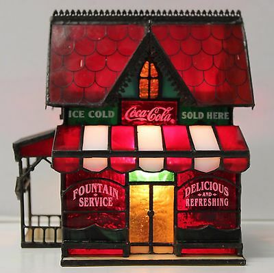 1995 Coca Cola Antique Corner Store - Stained Glass/Night Light/Franklin Mint Co